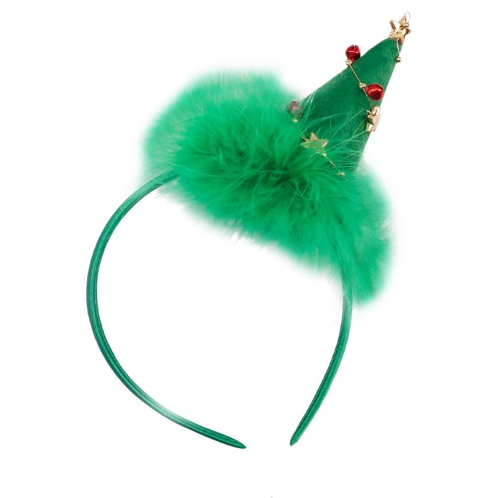 JOJO BOWS 1pc Christmas Headband Christmas Tree Jingle Bell With Plush Pompom Hair Band For Kid Girl Holiday Headwear Head Hoop in Christmas Headbands from Home Garden