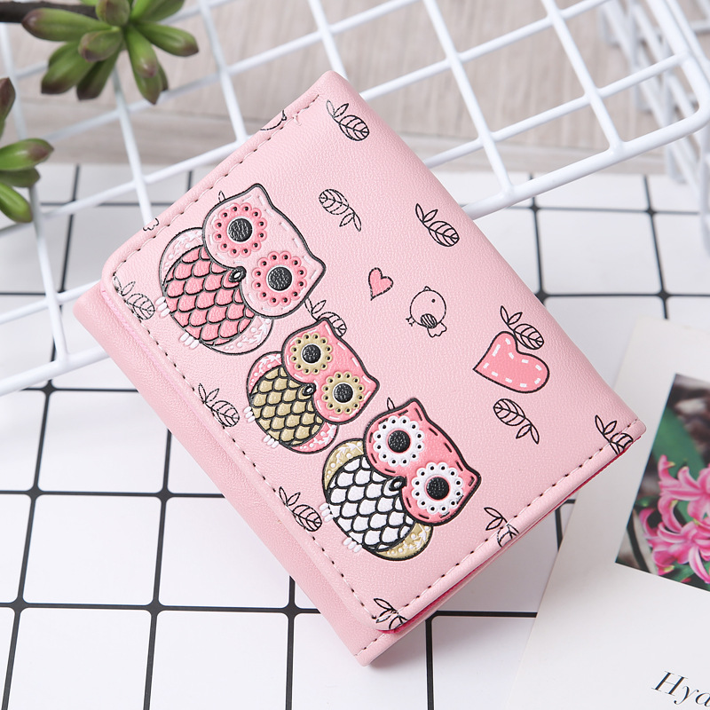 Wallet Female 2018 Girls cute owl Lady Short Women Wallets Mini Money Purses PU Leather Bags small Coin Purse Card Holder rainbowgirl 2017 pu leather penalties owl coin purses se cute wallet for children zipper women s purse card holder trinket bag