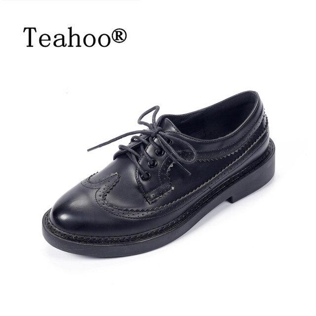 style britannique oxford chaussures femmes brogues en cuir designer