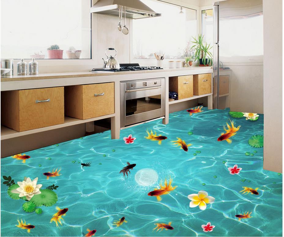 Floor 3D wallpaper Beach floor murals in wall stickers Lake fish lotus 3D floor Waterproof floor mural painting Обои
