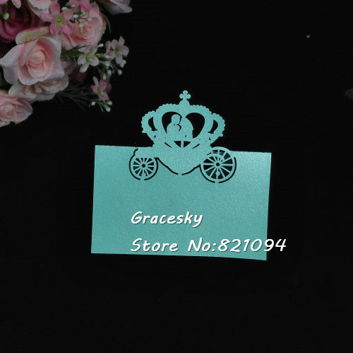 50Pcs Free Shipping Laser Cut Bride&Groom In Carriage