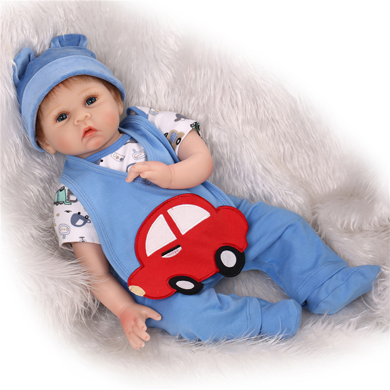 NPK Brand Good Quality 55cm 22inch Real Baby Dolls For Sale With Real Cotton Made Blue