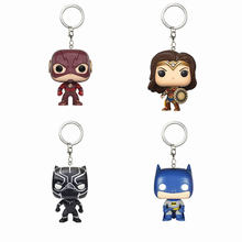 Keychain Flash, Wonder Woman, Batman, Black Panther Toys Action Figure Collectible Model Vinyl Dolls Keyring Children Gift(China)
