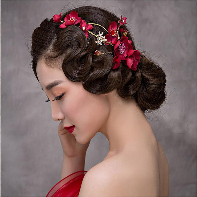 Pakistani Bridal Hairstyles Gold Leaves Butterfly Wedding Hair Accessories Red Flower Bride Pearl Headpiece Party Head