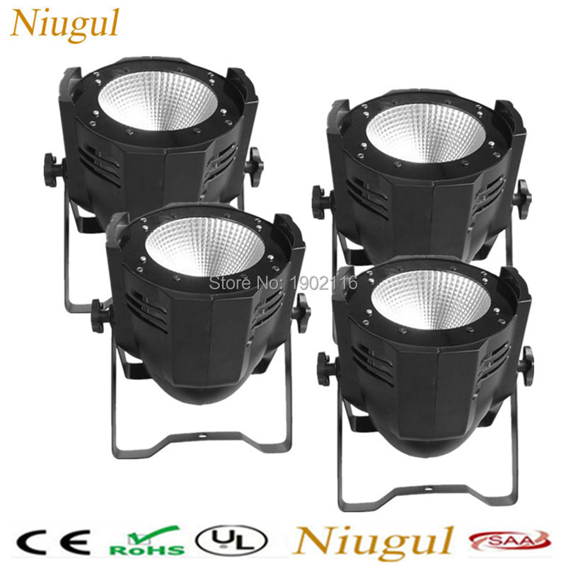 4pcs/lot Super Bright DMX512 Aluminium Case100W COB Led par light with cool white and warm white Strobe Effect Stage Lighting freeshipping 4pcs dmx 100w cob warm yellow warm white led dj par light 100 wart dmx512 control mater slave stage lighting effect