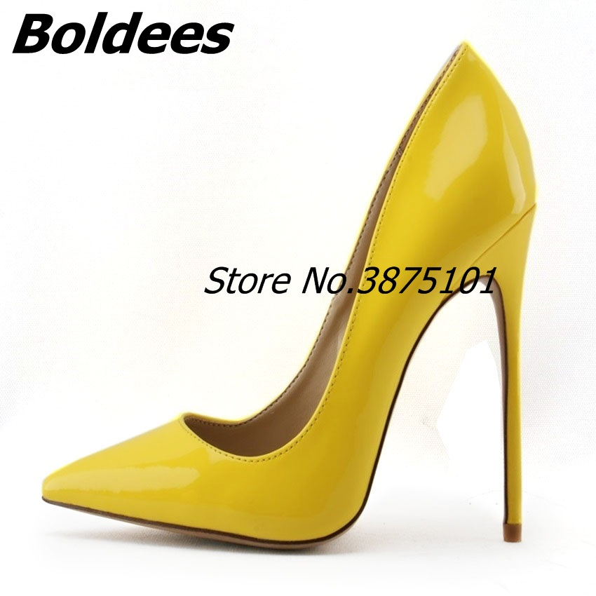 Boldees 2018 New Style Women's Shoes White High Heels Slip On Pointed Toe Stiletto Celebrity Ladies Shoes Pumps White and Yellow new arrival blue and white porcelain pattern stiletto heels pretty women glittering crystal pointed toe pumps high quality shoes