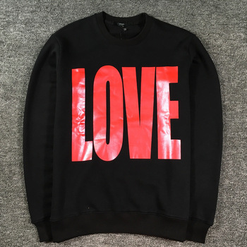 New  High High Men Red Love Letters Hoodies Hoody hooded Sweatshirts velvet Cotton Drake Thicken Fleece kenye #d29