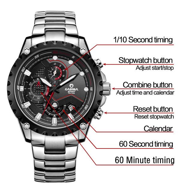Reloj de lujo deportivo, luminoso e impermeable de hombre