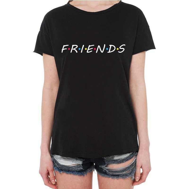 Friends printing White T Shirt Summer Women Short Sleeve Leisure Top Tee Casual Ladies Female Tops Blusas Plus Size Clothing