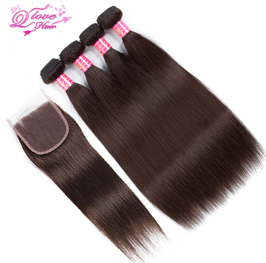 Queen Love Hair Pre-Colored Human Hair Mongolian Hair #2 Color Straight Bundles With Lace Closure Non Remy 4 Bundles