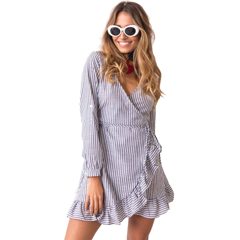 2019 Women Stripes Dress ContrastCross Over Deep V Drape Ruffle Long Sleeve Tie Casual Blue Ladies Mini Dress Female vestido