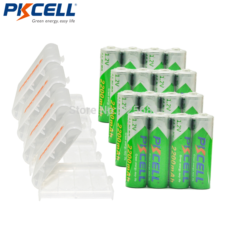 16Pcs PKCELL aa NiMH Rechargeable Battery AA 2200mAh 1.2V Low Self Discharge Batteries For Camera Toys Packed With 4Battery Box