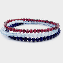 Women Bracelet 4 mm Nature Lapis Garnets Blue stone for Girl Gifts 3 pcs / set 18-8.5 cm