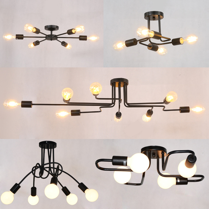 Modern Personality Bedroom Lamp Creative Ceiling Lamp Study Simple Nordic Lighting Wrought Iron Lamp For Dining Room Living Room