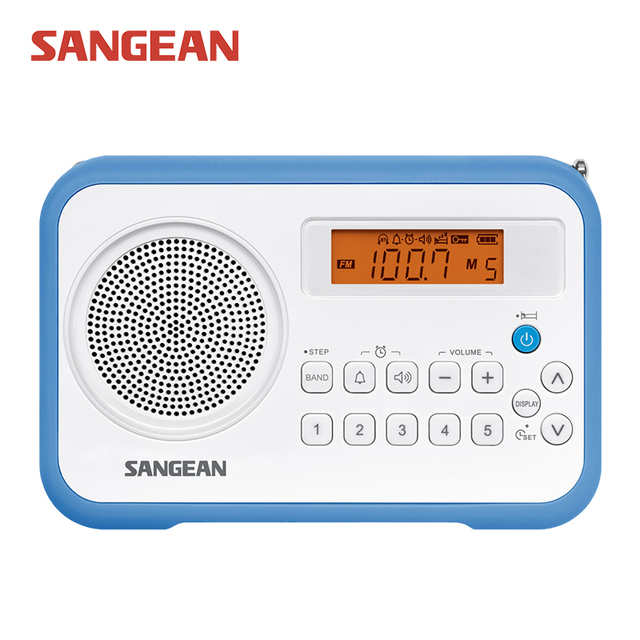 PR-D18 Sangean AM/FM/Rádio Relógio Digital Portátil
