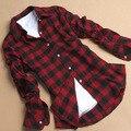 Camisa Xadrez de Flanela de algodão das Mulheres Estudantes do Sexo Feminino de Manga Comprida Básica Plus Size Flanela Camisa M-XXXL # k
