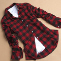 Cotton Flannel Plaid Shirt Female Student Women's Long Sleeve Plus Size Basic Flannel Shirt M-XXXL #k
