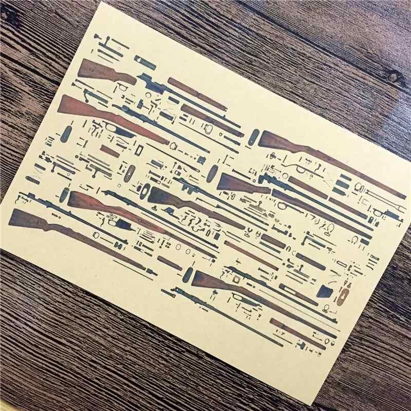 """XQ-139 الرجعية كرافت ورقة """"الدول بندقية قنص جرافيك"""" ملصقات جدار ديكور المنزل غرفة المعيشة ملصق ملصق للأطفال 42x30 سم"""