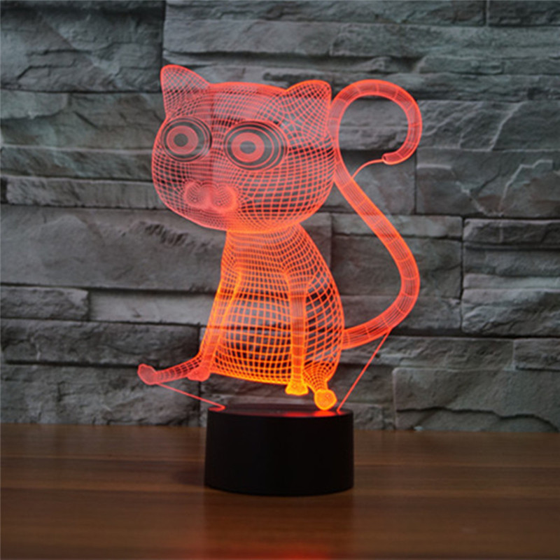 AUCD Cute Animal Cat Colorful 3D Visual Night Light Acrylic Touch Swtich Table Lamp Decoration Bedroom Office Ambient Lights-293