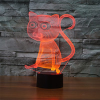 AUCD Cute Animal Cat Colorful 3D Visual Night Light Acrylic Touch Swtich Table Lamp Decoration Bedroom