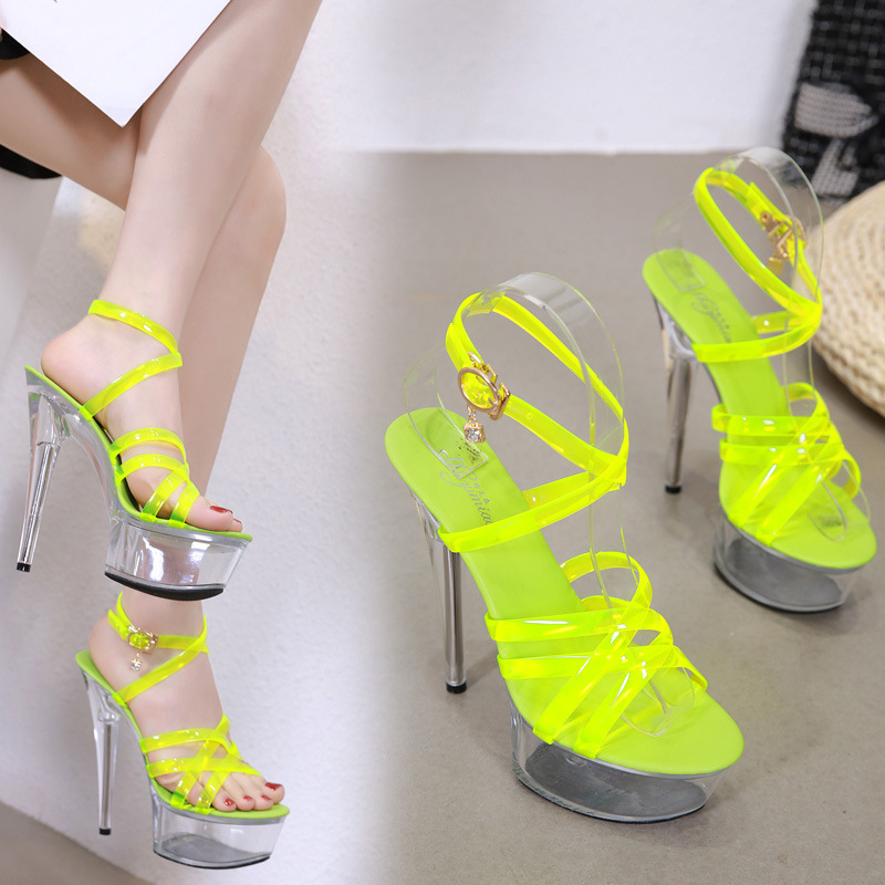 Shoes Woman Summer Sandals Gladiator Platform Female   Shoes High Heel 15CM Transparent Stripper Heels Wedding Shoes Size 34-43