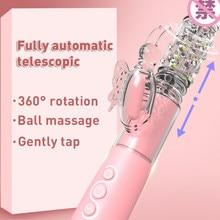 Omysky 12 Speeds Telescopic Dildo Vibrator 360 Butterfly Clitoris Stimulator Rabbit Vibrator Massager Adults Sexy Toys for women