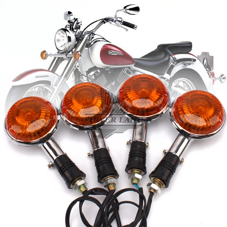 2pairs 12V Mototcycle Amber Lens Amber Light Turn Signal Lights Lamp Indicators Universal For YAMAHA V MAX 1200 XVS 650 400