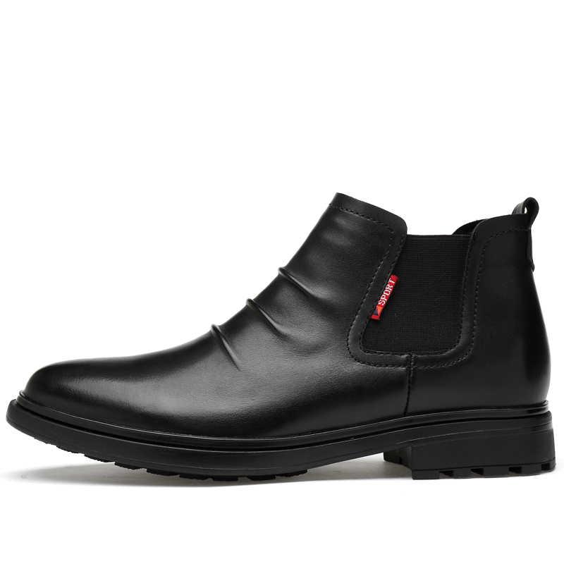 Plus size mannen casual business kantoor formele kleding lente herfst enkel chelsea laarzen ademend koe lederen schoenen zwart boot mannelijke