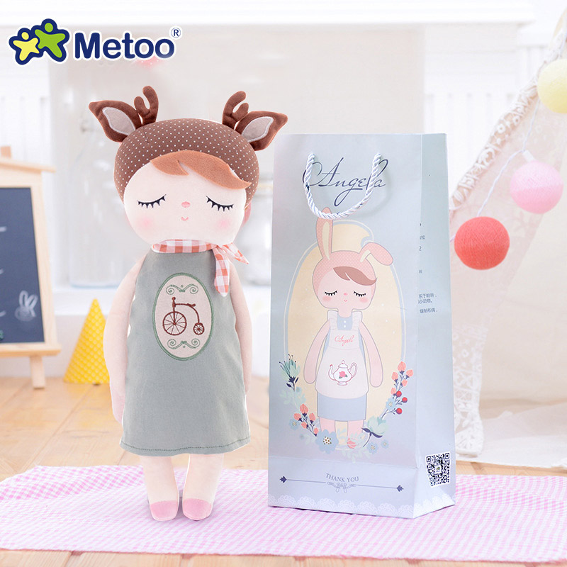 13 Inch Accompany Sleep Retro Angela Rabbit Plush Stuffed Animal Kids Toys for Girls Children Birthday Christmas Gift Metoo Doll 13 inch kawaii plush soft stuffed animals baby kids toys for girls children birthday christmas gift angela rabbit metoo doll