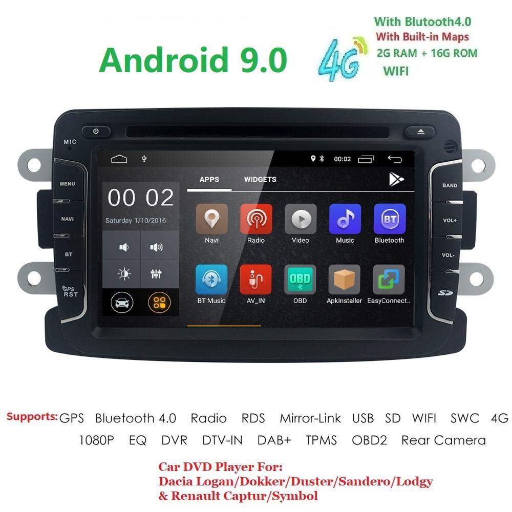 Android9.0 1DIN DVD de voiture pour RENAULT DUSTER LOGAN LADA symbole de rayon x DACIA Kaptur DOKKER DVD voiture GPS multimédia RDS DVR SWC DAB DTV