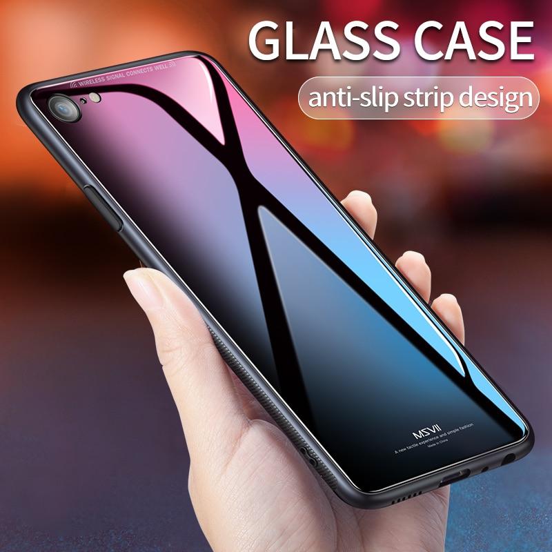 Msvii pour iphone 6 cas iphone6 Cas pour l'iphone 6 6 s Plus De Luxe En Verre Cas De Protection de Couverture Arrière Rose Antichoc pour apple