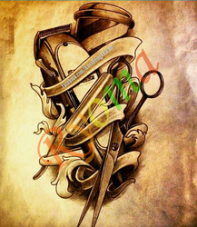 Vintage Hairdresser Tattoos Kraft paper Interior Painting Restoring Wall Sticker Barber knife and scissors 42x30cm