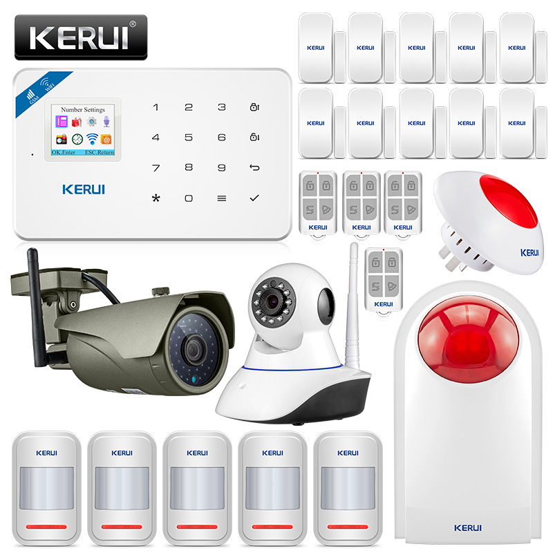 KERUI W18 GSM 2.4G WIFI Wireless Burglar Security Alarm System For Home Garden Villa Alarm Kit WIFI Outdoor Indoor IP Camera