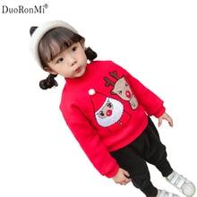 Winter Children Kids Boys Girls Christmas Sweatshirt Baby Plus Velvet Thick Sweater Girls Cartoon Warm Hoodies Tops Clothes