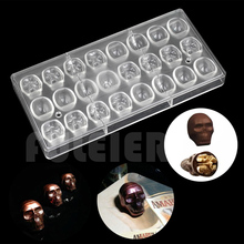 Halloween 3D skull Shape Polycarbonate Chocolate Mold DIY kitchen confectionery tools cake decoration baking candy mould