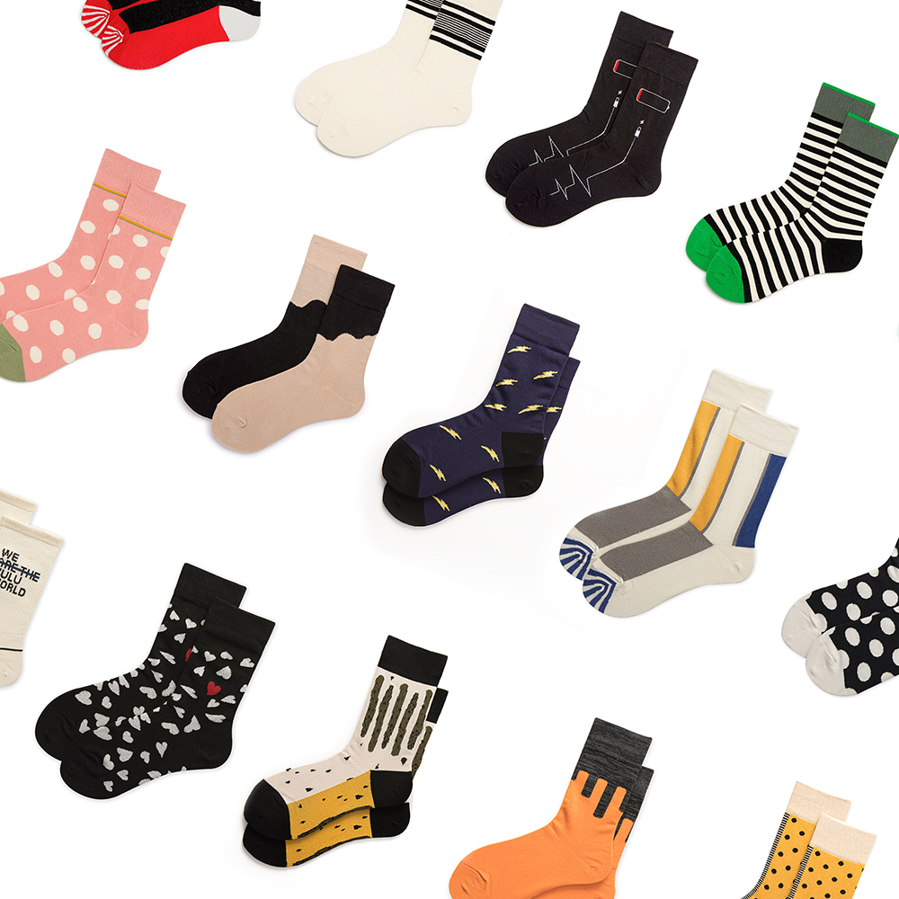 Hot Colorful Happy Funny Men Women Socks Cotton Crew Lovers Socks Cartoon Casual Colorful Dots In Tube Sock