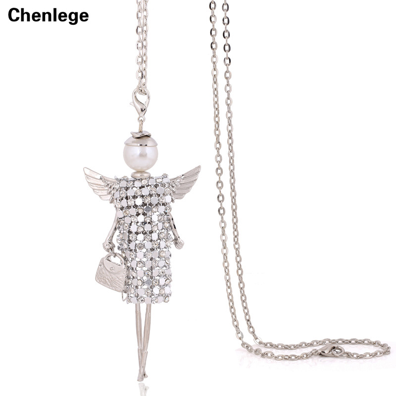 handmade new sweater CZ chain long necklace angel wings full rhineston doll necklace jewelry women chokers crystal girl pendant