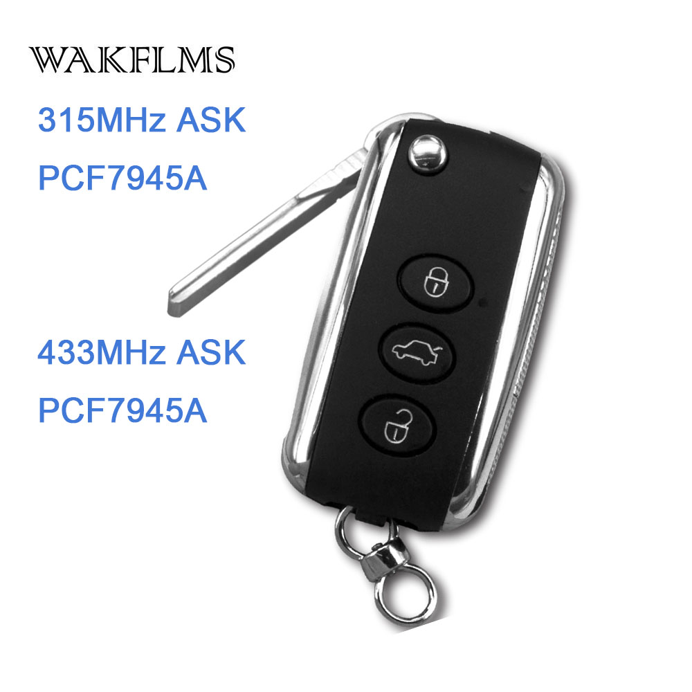 3btn Remote Flip Car Key Smart System 315MHz 433MHz For Bentley for Continental GT Flying Spur