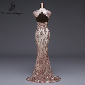Image 5 - New style Mermaid Evening Dress Luxury Sequin prom gowns Party dress vestido de festa Sexy Backless robe longue vestido de mujer