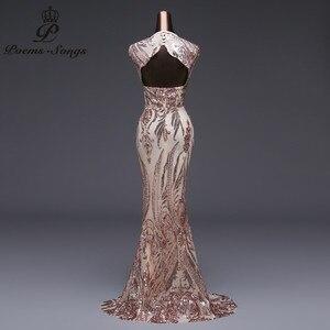 Image 5 - Vestido de noche de sirena de lujo, nuevo estilo, de lentejuelas, de fiesta, Sexy, sin espalda, largo