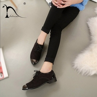 Brand Oxford shoes for women Autumn Womens Low Heel Oxfords Shoes Suede Leather Flats Zapato Lace up Flat shoes Glitter Shoes