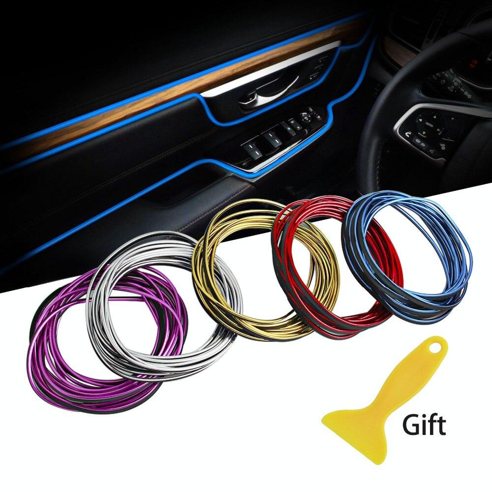 5 m estilo do carro adesivos e decalques molduras interiores decoração 3d thread adesivos decoração tiras para carros acessórios de automóveis