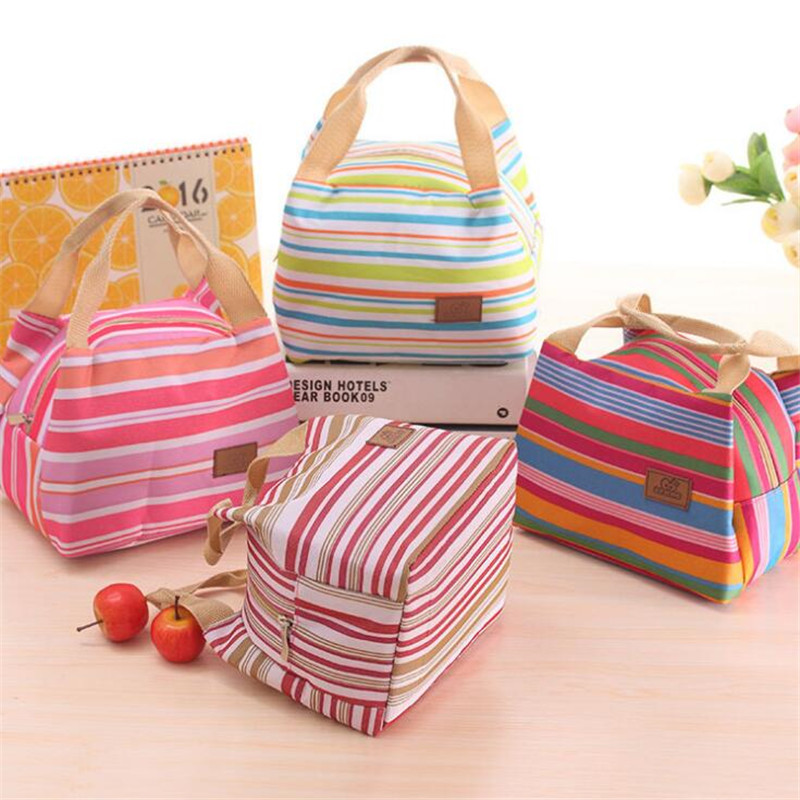 Lunch Bags For Women Fashion Oxford Cloth And Cold Insulation Package Picnic Bag Striped Zipper Box