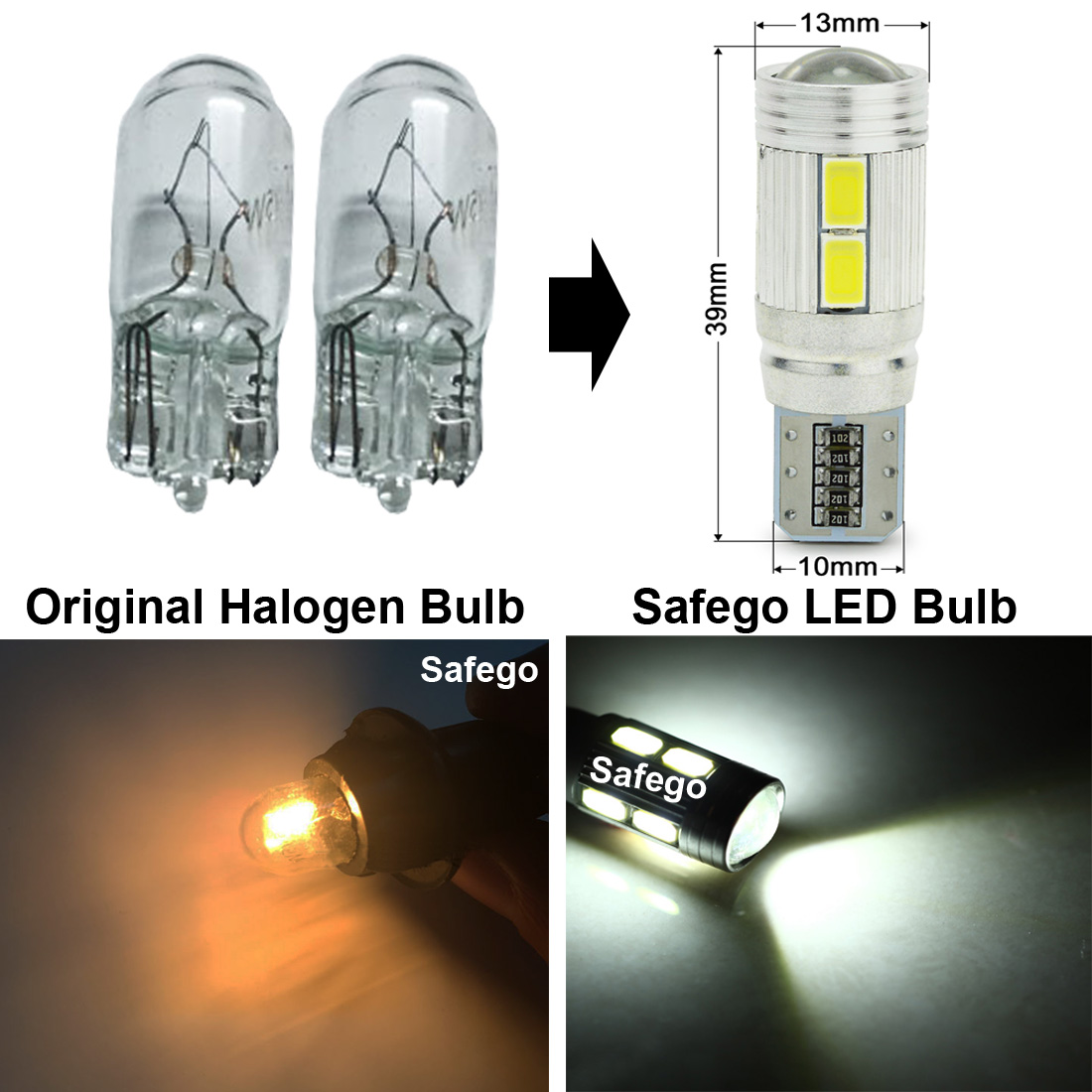 Image 3 - Safego 2pcs Car LED T10 W5W Canbus 194 168 Error Free 10 smd 5630  LED Light Bulb led light parking T10 LED Car Side Light-in Signal Lamp from Automobiles & Motorcycles