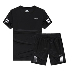 2019 New Mens Quick Dry SportSuits Summer Sport Suit Men Gym Compression Running Set Outdoor Short Sleeve Play Suits Shorts