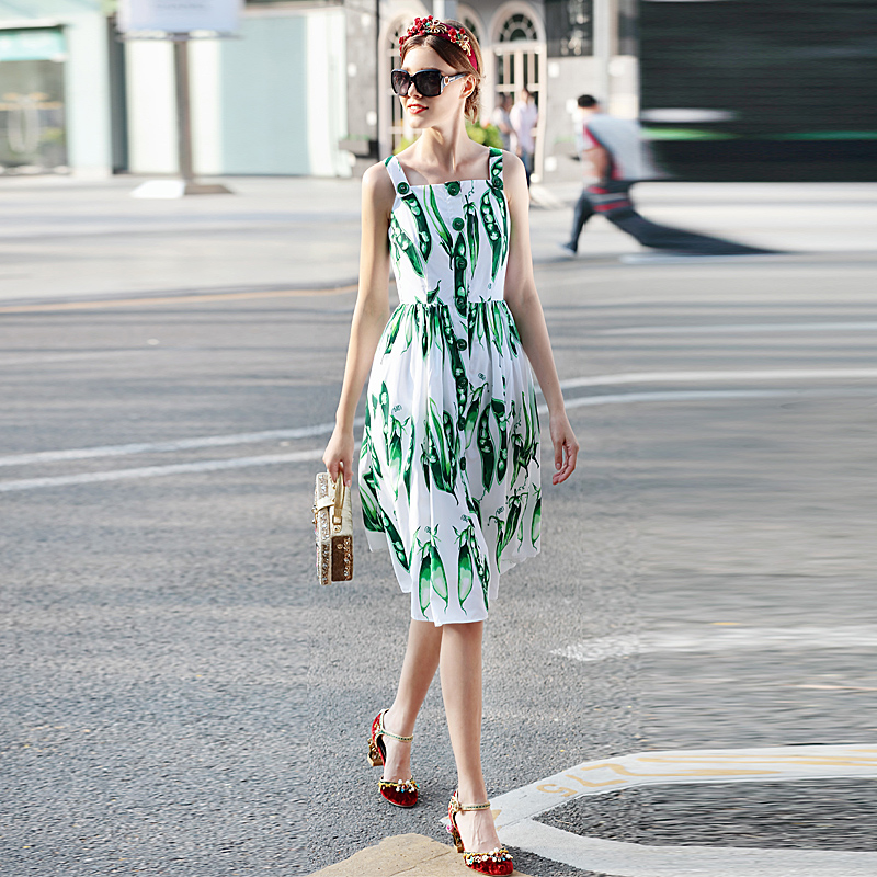 Milan Catwalk New High Quality Runway 2018 Spring Summer Fashion WomenS Party Boho Beach Girls Pea Print Sleeveless Vest Dress