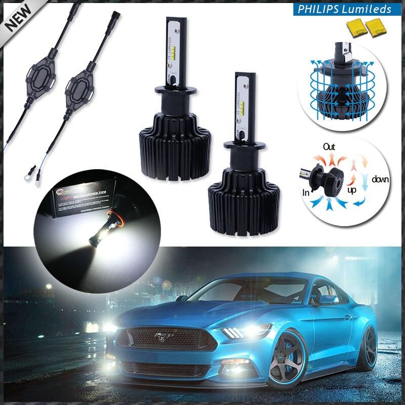 2 High Power LED Headlight Bulbs H1 6000K Xenon White Powered By Philips Luxeon LED