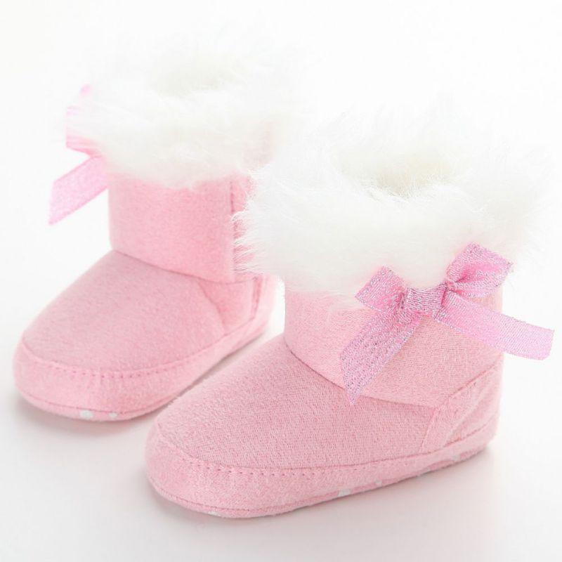 acb10e02b273a 0-18 M Semelle Souple Bébé Chaussures Fille Bottes de Neige Hiver Chaud En  Bas Âge Épais Slip-On Chaussons