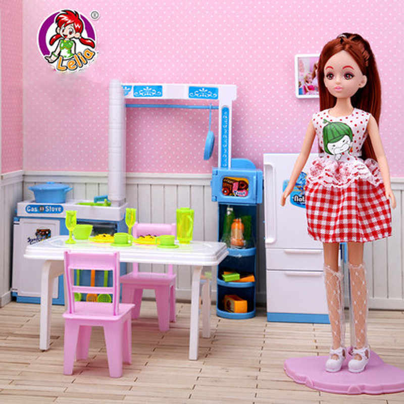 Леля кукольный домик Мебель игрушка для куклы кухонный набор моделирование холодильник Таблица претендует игрушки для детей для девочек Подарки