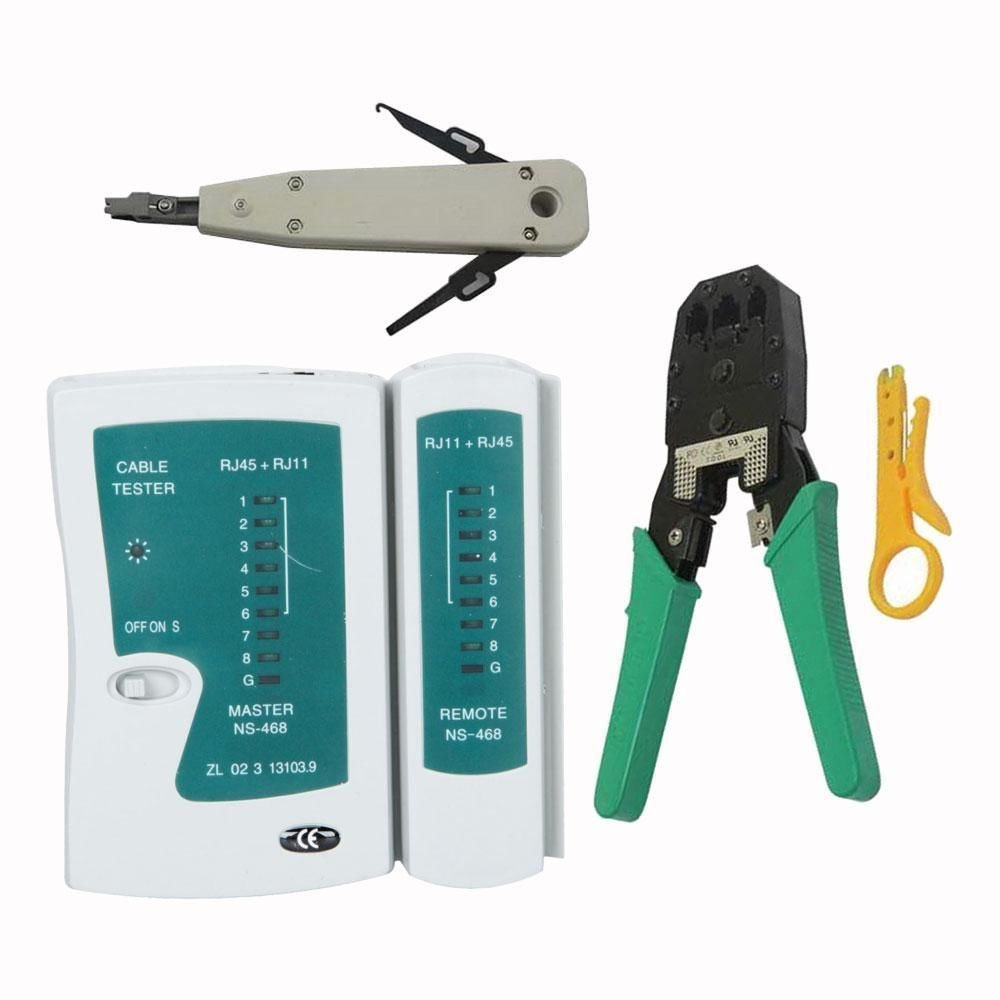 New Rj45 Rj11 Cat5 Network Tool Kit Cable Tester Crimp LAN Punch Down Impact